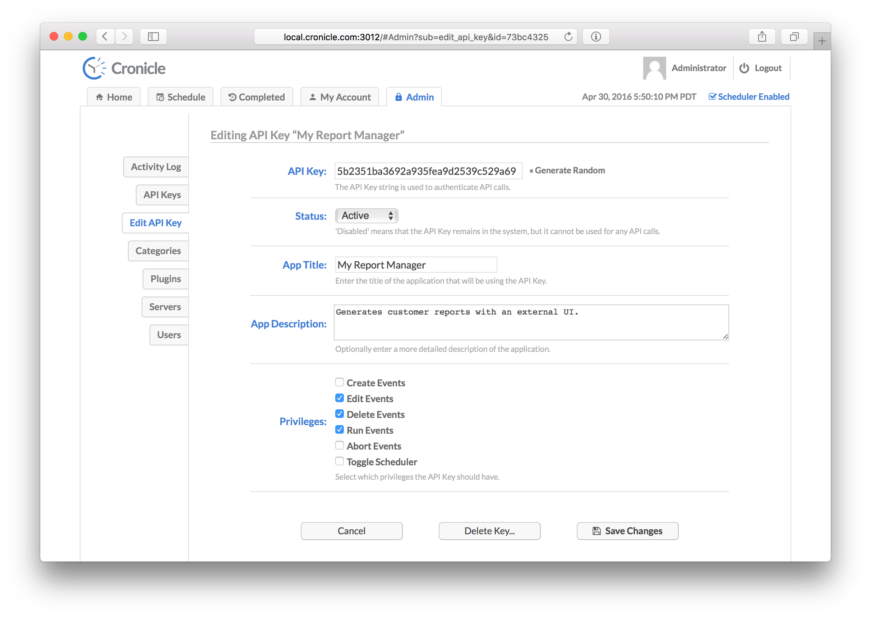 Editing API Key Screenshot