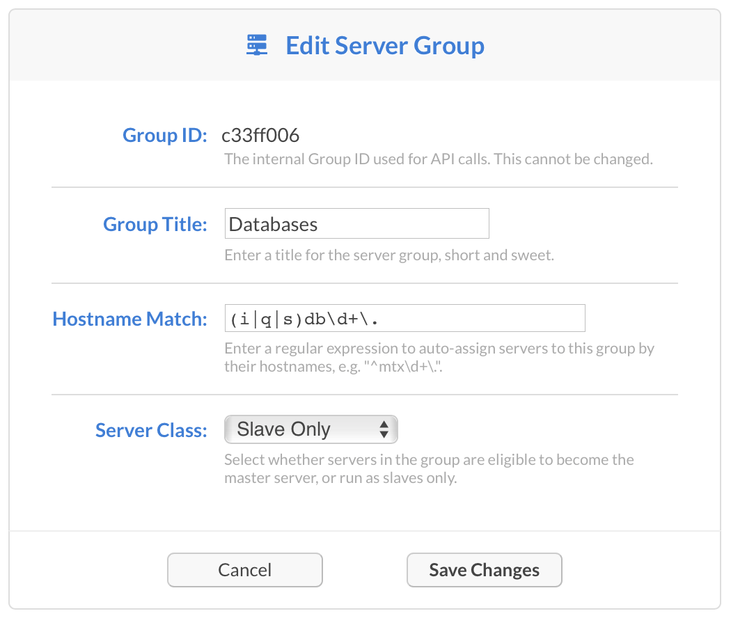 Edit Server Group Screenshot