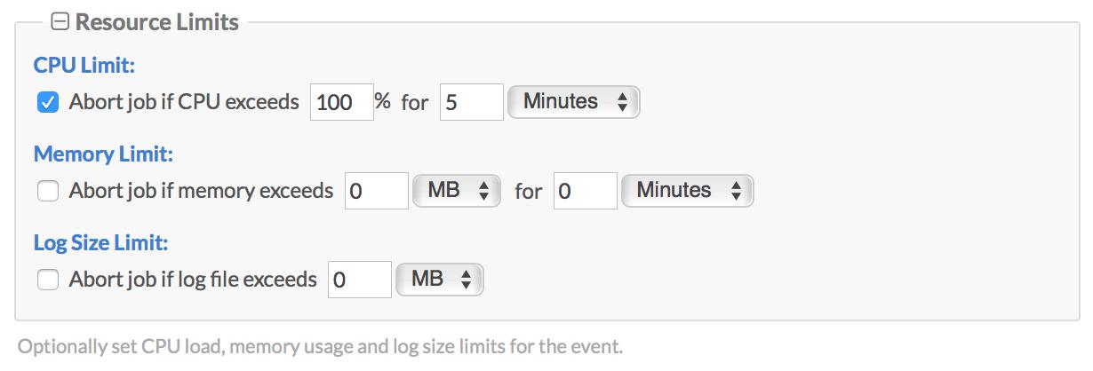 Resource Limits Screenshot